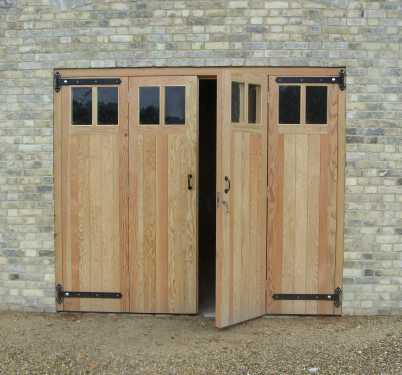 Glazed timber garage doors