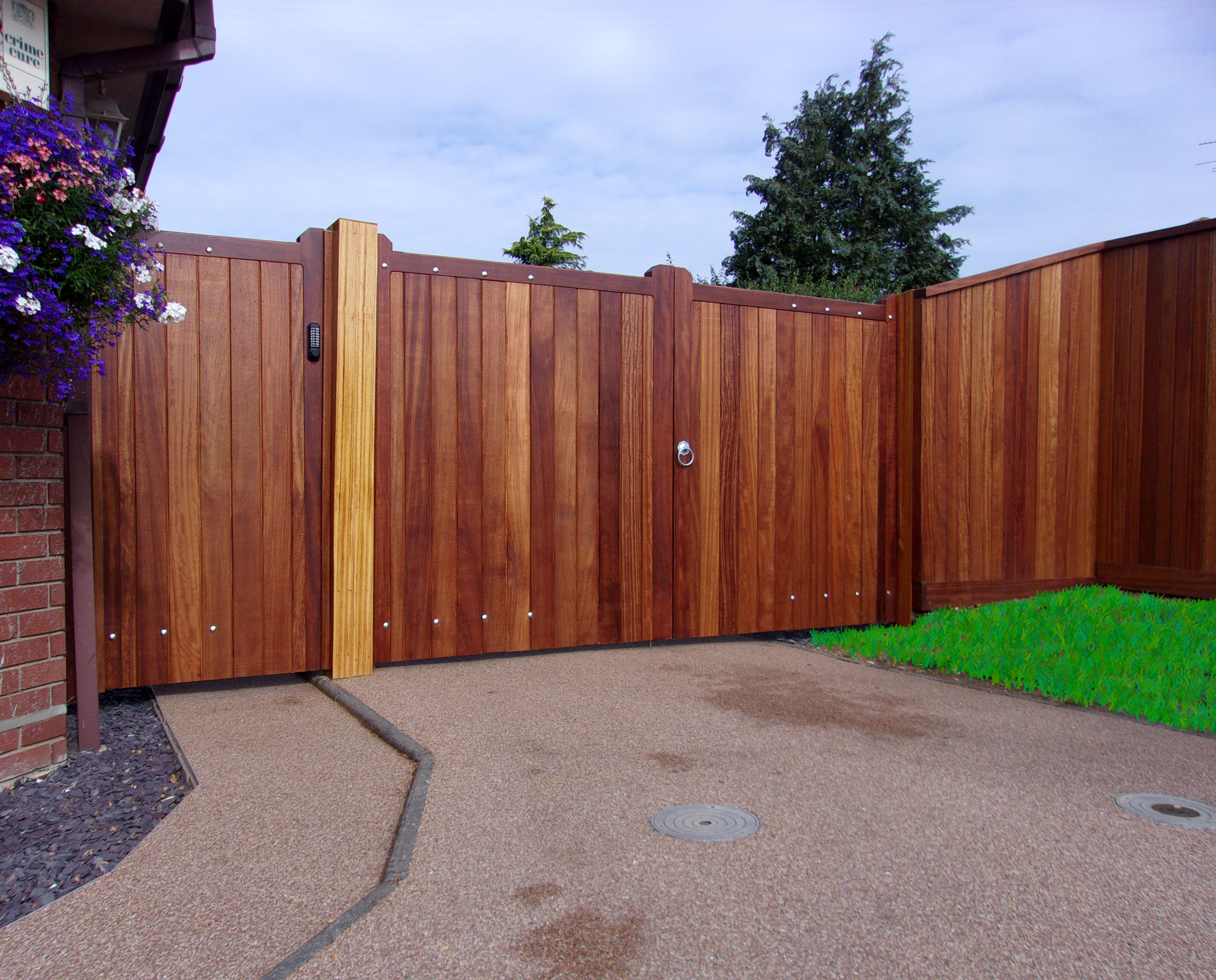 Blyth Pedestrian Gate, Entrance Gates and T&G fencing all in oiled Iroko
