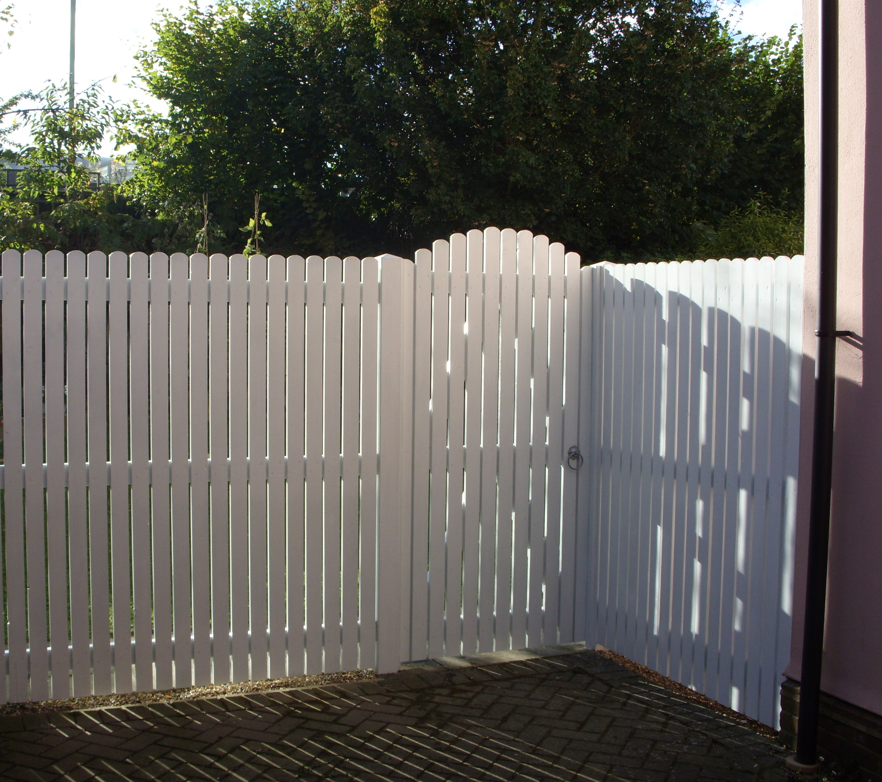 Palisade fencing and matching gate