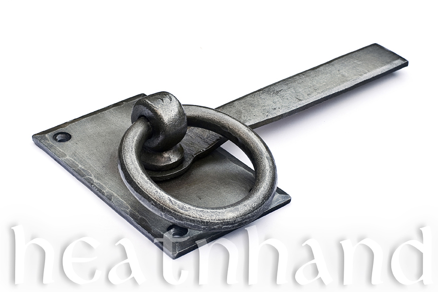 Hand forged large rectangular ring latch.