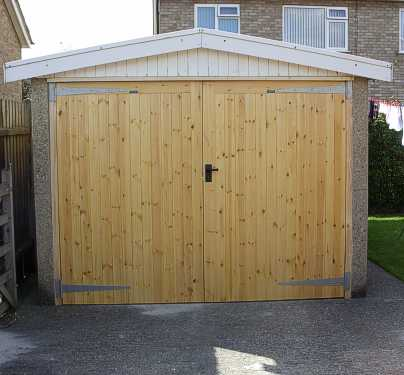 Unpainted softwood garage doors