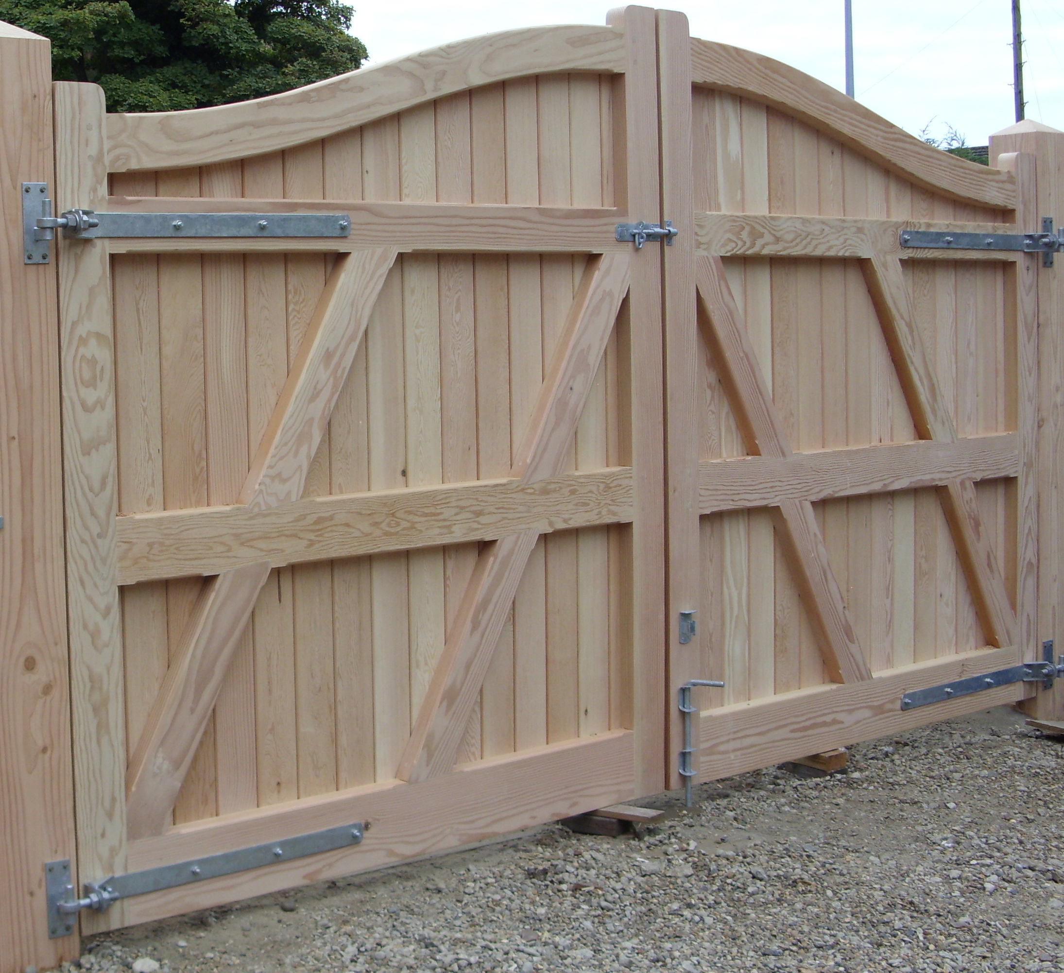 Needham gates in Douglas fir from reverse