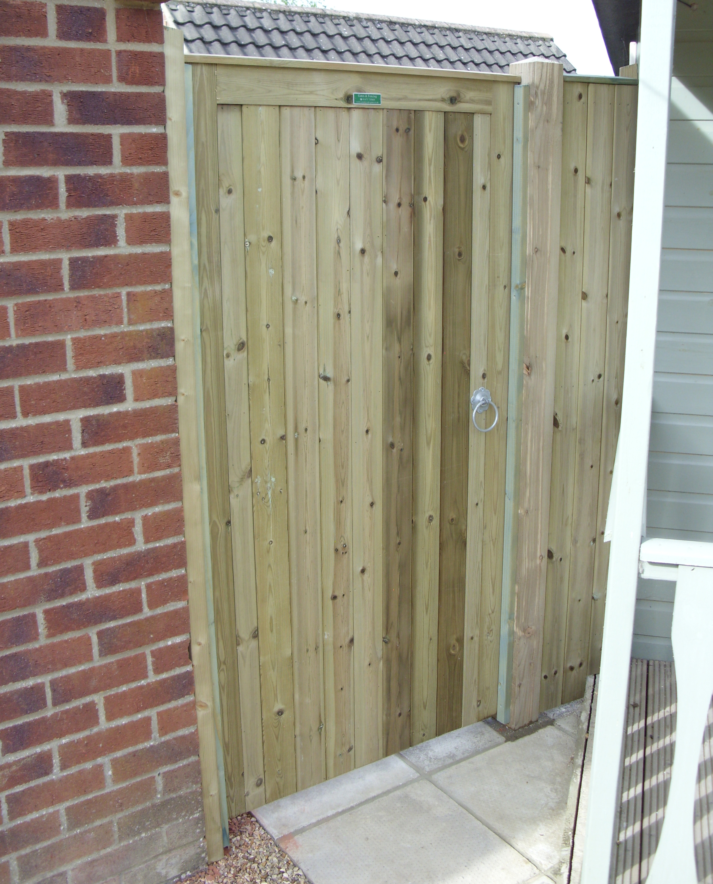 Glemham gate with side panel in pressure treated softwood.