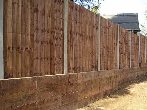 closeboard panels on concrete posts with retainer gravel boards