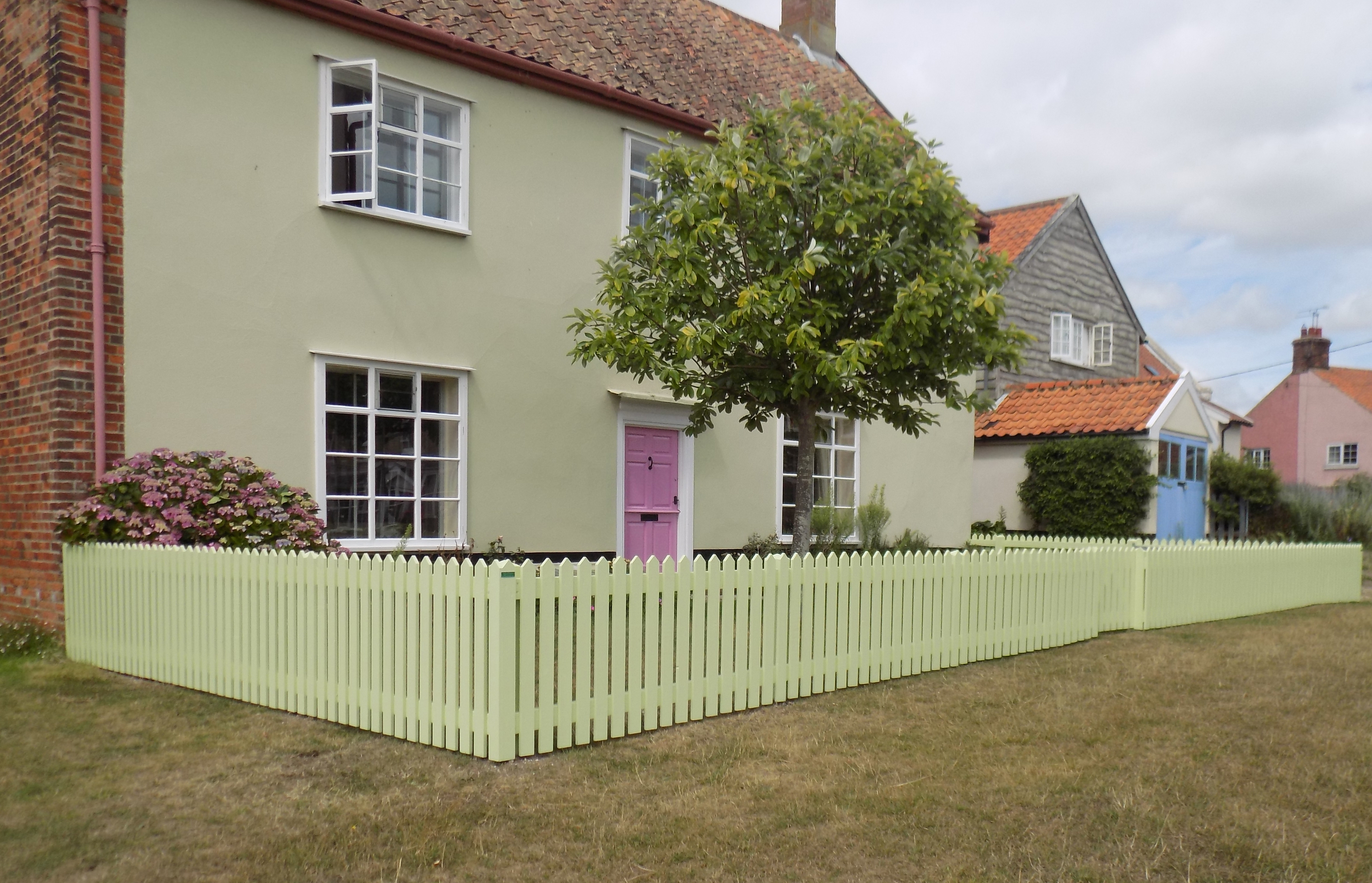 Picket fencing colour co-ordinated.